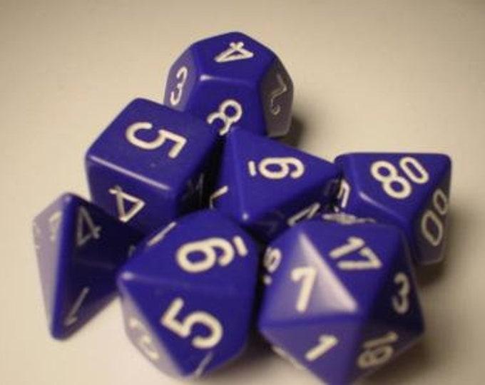 Purple/White Opaque Polyhedral 7-Die Set - CHX25407 - Chessex