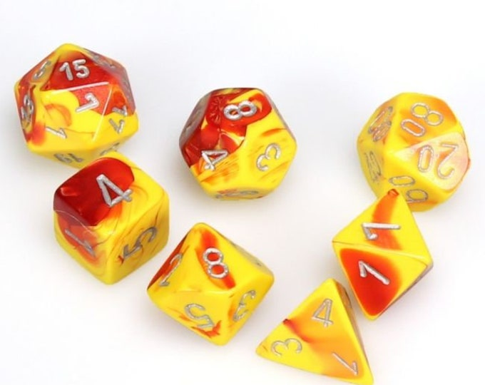 7-Die Set Gemini: Red-Yellow/Silver - CHX26450 - Chessex