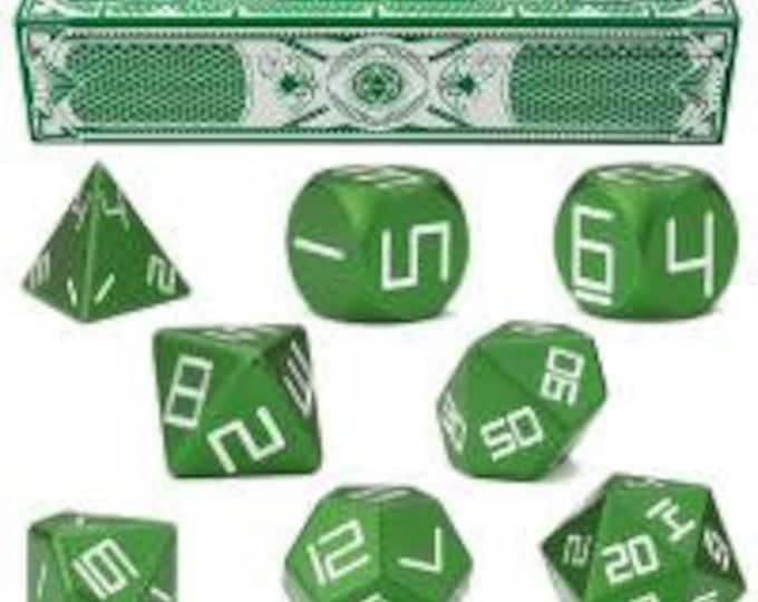 WizDice Set of 8 Malachite Green Precision Aluminum Polyhedrals - Purchasing Cooperative