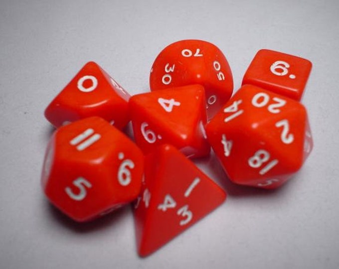 Red/White Opaque Polyhedral 7-Die Set - CHX25404 - Chessex