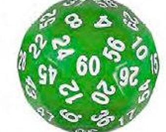 Unusual Dice - Green d60 Die with White Numbers