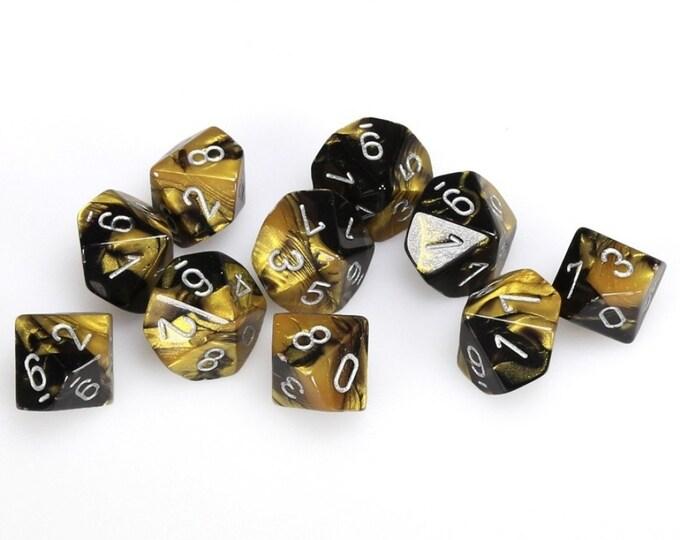 10d10 Gemini: Black-Gold/Silver - CHX26251 - Chessex