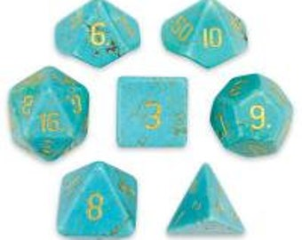 WizDice Set of 7 Handmade Stone Polyhedral Dice (Turquoise)