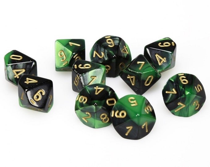 10d10 Gemini: Black-Green/Gold - CHX26239 - Chessex