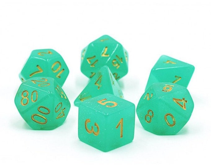 HDDice 7 Die Polyhedral Translucent Glitter Dice Set (Green) - Purchasing Cooperative