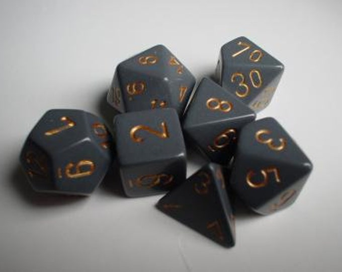 Grey/Copper Opaque Polyhedral 7-Die Set - CHX25420 - Chessex