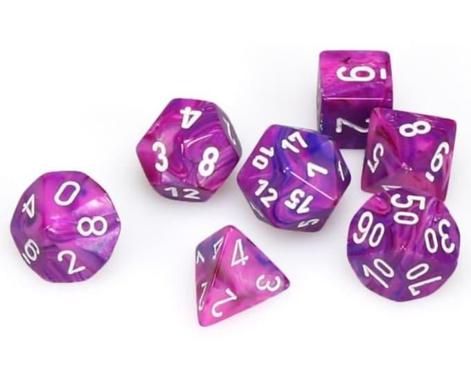 7-Die Set Festive: Violet/White - CHX27457 - Chessex