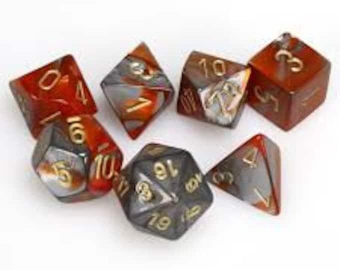 7-Die Set Gemini: Orange-Steel/Gold - CHX26461 - Chessex