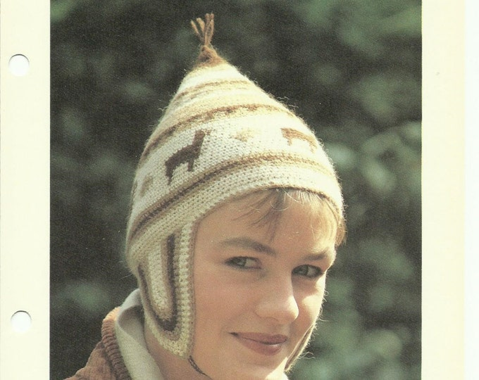 Peruvian cap alpaca crochet pattern digital download