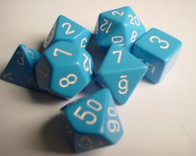Light Blue/White Opaque Polyhedral 7-Die Set - CHX25416 - Chessex