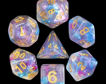 HDDice 7 Die Polyhedral Iridescent Dice Set (Violet Storm - Light Blue/Purple) - Purchasing Cooperative