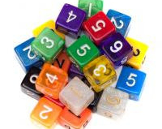 WizDice 25 Pack of Random D6 Polyhedral Dice in Multiple Colors