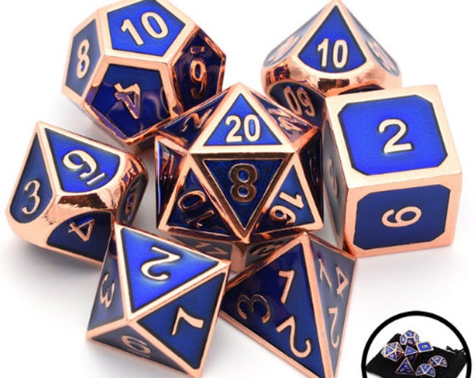 Besglo 7 Die Polyhedral Metallic Enamelled Number Dice Set (Blue/Copper) - Purchasing Cooperative
