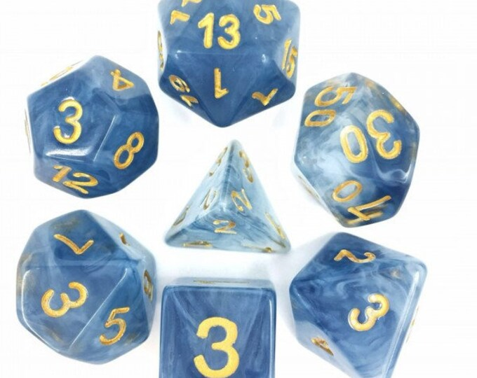 HDDice 7 Die Polyhedral Jade Dice Set (Blue/Yellow) - Purchasing Cooperative
