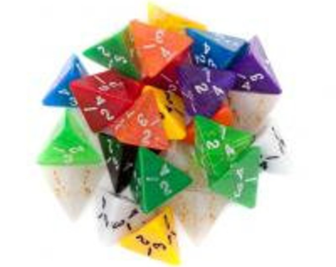 WizDice 25 Pack of Random D4 Polyhedral Dice in Multiple Colors