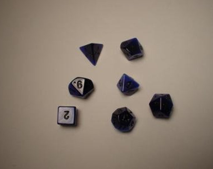 Dwarven Stone Dice - 14mm Blue Synthetic Cat's Eye Polyhedral 7-Die Set - 02072 - Crystal Caste