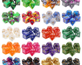 HDDice Pearled and Blended 7 Die Polyhedral Dice Set Pack (20 Sets) - Purchasing Cooperative