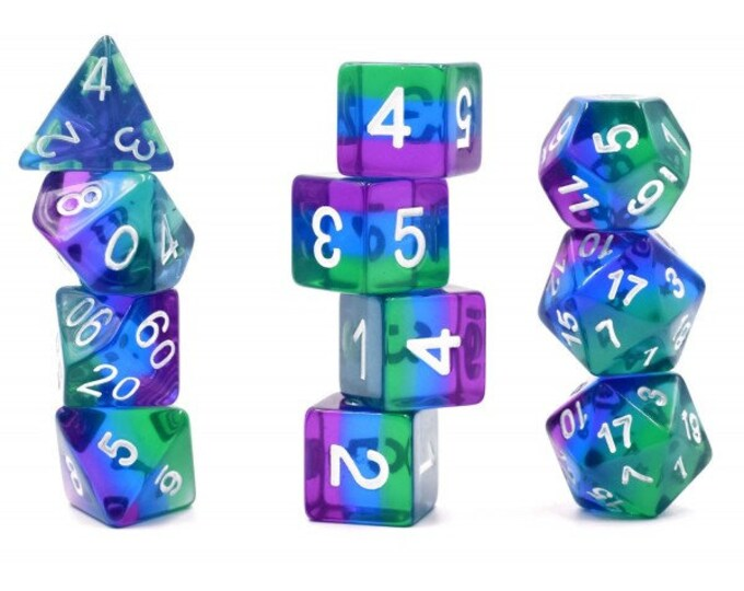 HDDice 11 Die Polyhedral Transparent Layered Purple/Blue/Green Set - Purchasing Cooperative