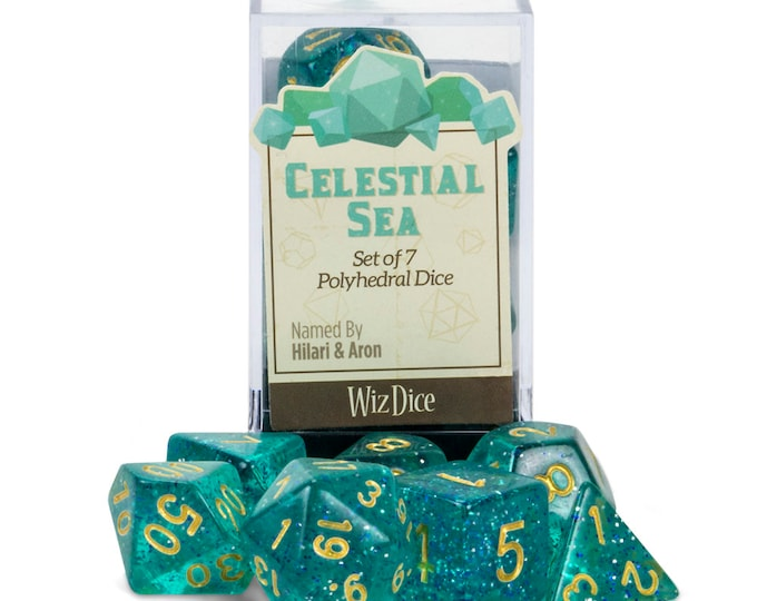 WizDice 7 Die Polyhedral Set in Velvet Pouch-Celestial Sea - Purchasing Cooperative