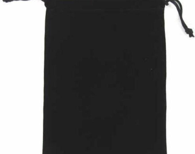 Dice Bags: Velvet Dice Bag - Black (6in x 9in)