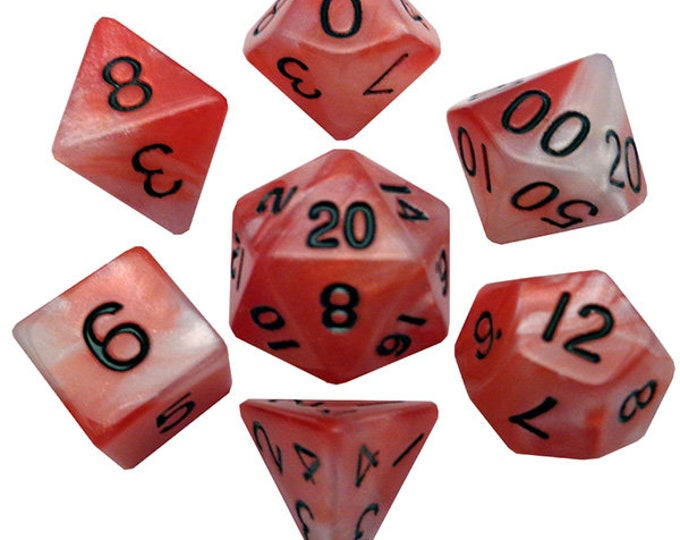 7-Die Set Combo: Red-White/Black - MTD110 - Metallic Dice Games