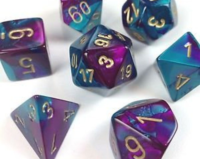 7-Die Set Gemini: Purple-Teal/Gold - CHX26449 - Chessex