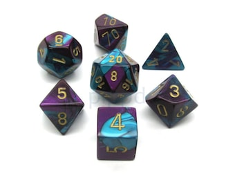 7-Die Set Gemini: Purple-Teal/Gold - CHX26449 - Chessex