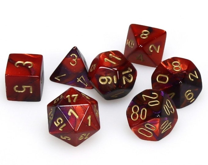 7-Die Set Gemini: Purple-Red/Gold - CHX26426 - Chessex