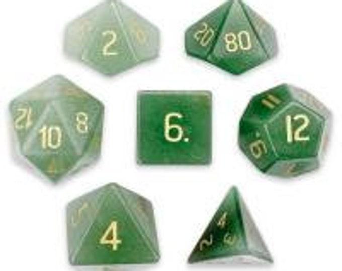 WizDice Set of 7 Handmade Stone Polyhedral Dice (Aventurine)