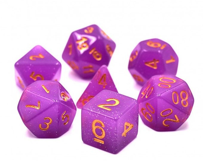 HDDice 7 Die Polyhedral Translucent Glitter Dice Set (Purple) - Purchasing Cooperative