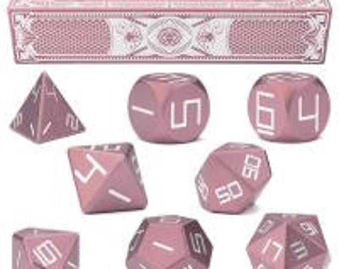 WizDice Set of 8 Precision Aluminum Polyhedral Dice (Aurora Pink)