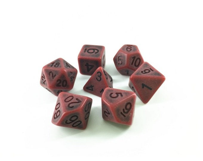 HDDice 7 Die Polyhedral Ancient Dice Set (Red) - Purchasing Cooperative