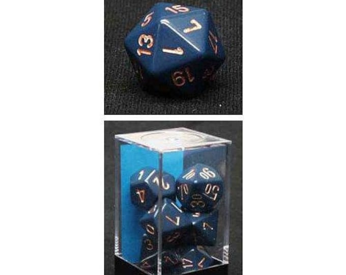Dusty Blue/Copper Opaque Polyhedral 7-Die Set - CHX25426 - Chessex