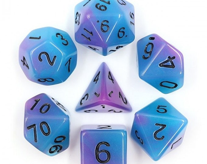HDDice 7 Die Polyhedral Glow in the Dark Dice Set (Blue+Purple/Black) - Purchasing Cooperative