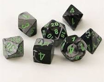 7-Die Set Gemini: Black-Grey/Green - CHX26445 - Chessex