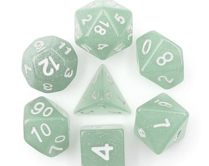HDDice 7 Die Polyhedral Translucent Glitter Dice Set (Gray) - Purchasing Cooperative
