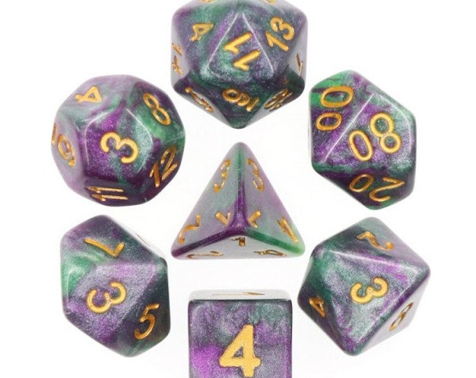 HDDice 7 Die Polyhedral Galaxy Dice Set (King Cake; Purple and Green) - Purchasing Cooperative