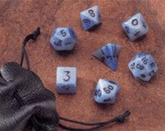 Dwarven Stone Dice - 12mm Blue Jasper Polyhedral 7-Die Set - 02006 - Crystal Caste
