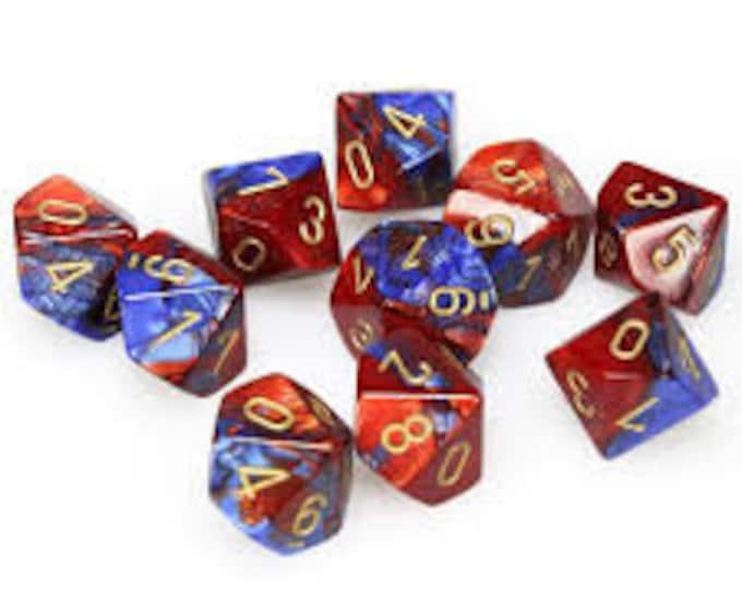 10d10 Gemini: Blue-Red/Gold - CHX26229 - Chessex