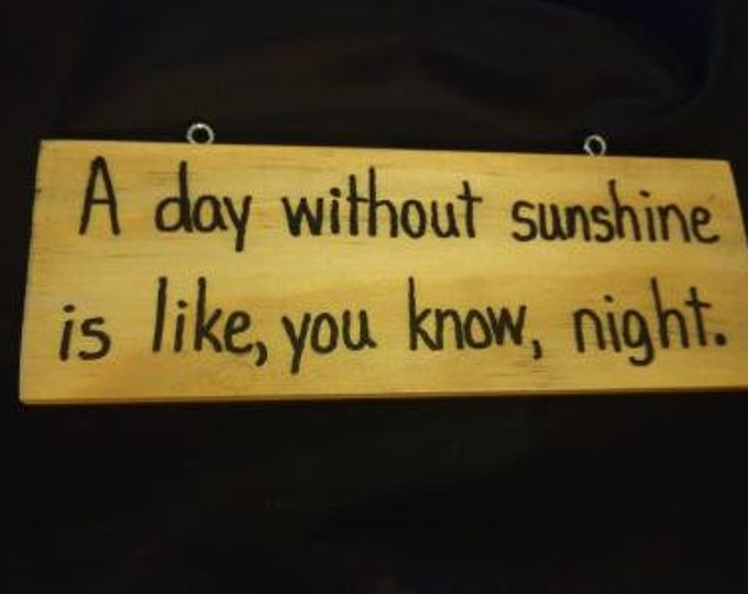 A Day without Sunshine is Like, You Know, Night. - Hand-Burned Wooden Sign