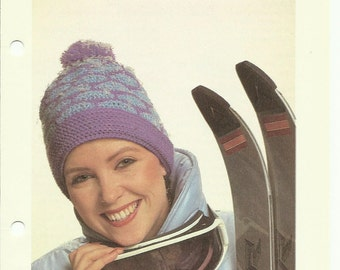 Ski hat crochet pattern digital download