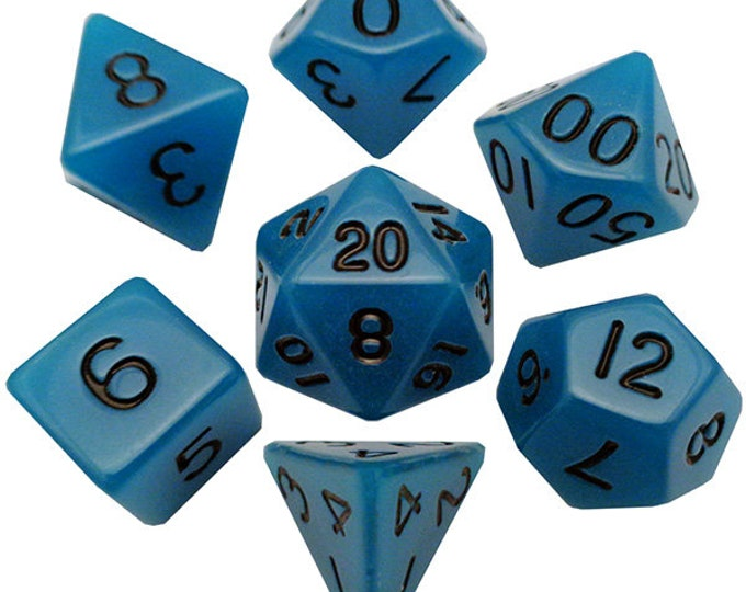 7-Die Set Glow: Light Blue/Black- MTD302 - Metallic Dice Games