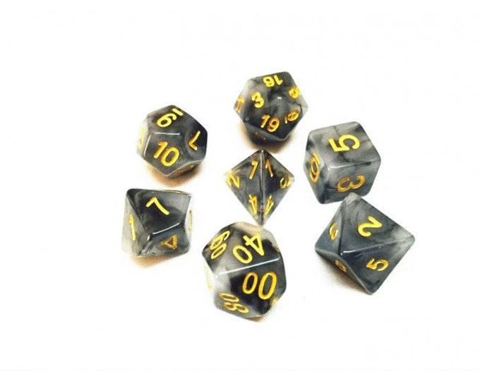 HDDice 7 Die Polyhedral Jade Dice Set (Black/Yellow) - Purchasing Cooperative
