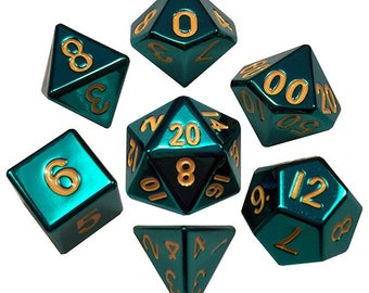 7-Die Set Metal: Turquoise Painted - MTD015 - Metallic Dice Games
