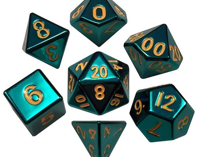 7-Die Set Metal: Turquoise Painted - MTD015 - Metallic Dice Games