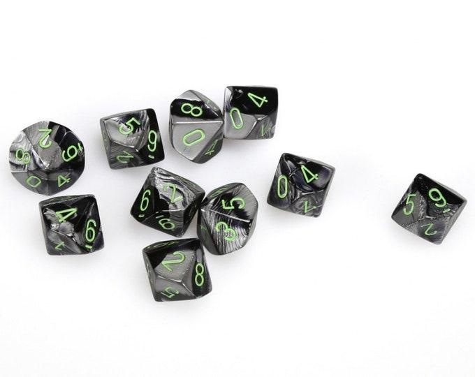 10d10 Gemini: Black-Grey/Green - CHX26245 - Chessex