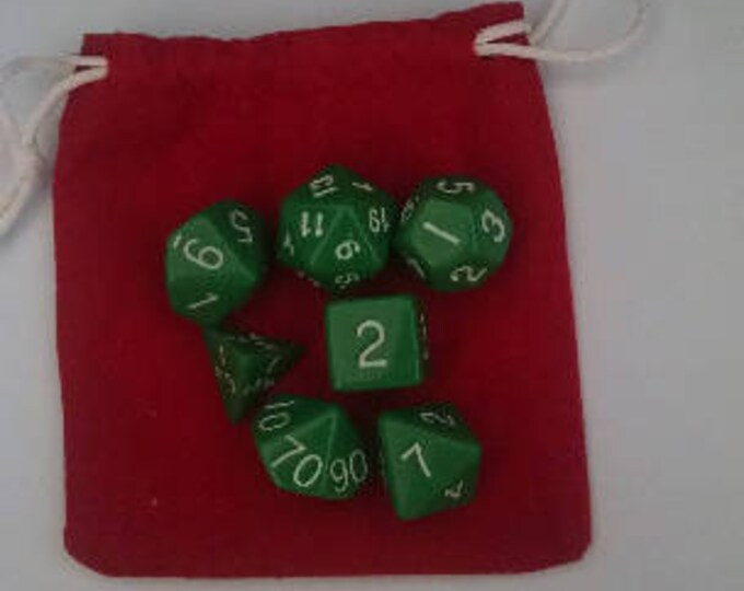 Grass Green - 7 Die Polyhedral Set with Pouch