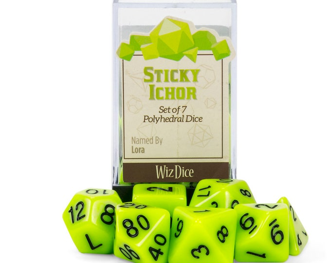 WizDice 7 Die Polyhedral Set in Velvet Pouch-Sticky Ichor - Purchasing Cooperative