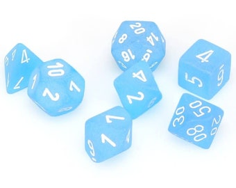 7-Die Set Frosted: Caribbean Blue/White - CHX27416 - Chessex