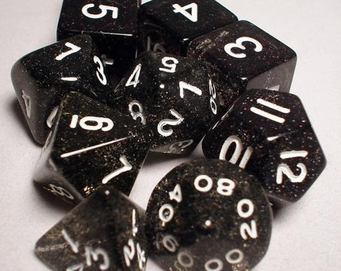 RPG Dice Sets: Black/White Transparent 10-Die Set